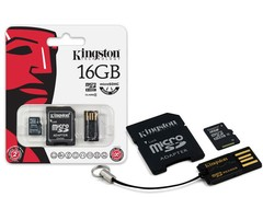 CARTAO DE MEMORIA CLASSE 4 KINGSTON MBLY4G2/16GB MULTIKIT COM MICRO SDHC DE 16GB + ADAPTADOR SD + ADAPTADOR USB