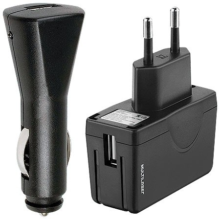 CARREGADOR UNIVERSAL KIT AC/USB+ CARREGADOR 12V, MINI USB, MICRO USB ,IPHONE 4/4S CB067 BIVOLT - MULTILASER