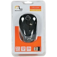MOUSE SEM FIO 2.4GHZ PRETO USB PLUG AND PLAY 1200DPI MO212 - MULTILASER - comprar online