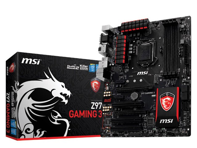PLACA MAE LGA 1150 INTEL SERIE 9 MSI Z97 GAMING 3 ATX DDR3 3300MHZ CHIPSET Z97 RAID CROSSFIRE