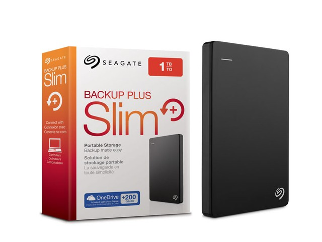 HDD EXTERNO 2,5 PORTATIL SEAGATE STDR1000100 BACKUP PLUS SLIM 1 TERA PRETO USB 3,0
