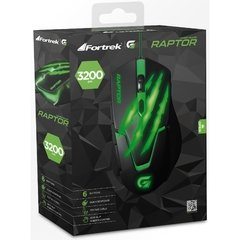 Imagem do Mouse Gamer USB 3200DPI RAPTOR OM-801 Preto/Verde FORTREK