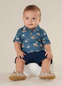 Camisa Polo Infantil Azul - Up Baby