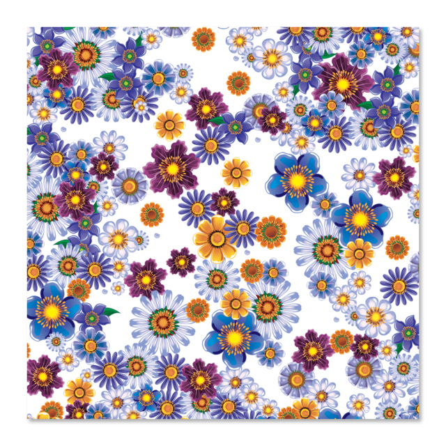 PAPEL DE REGALO - BLUE FLOWERS 0.6m x 100m