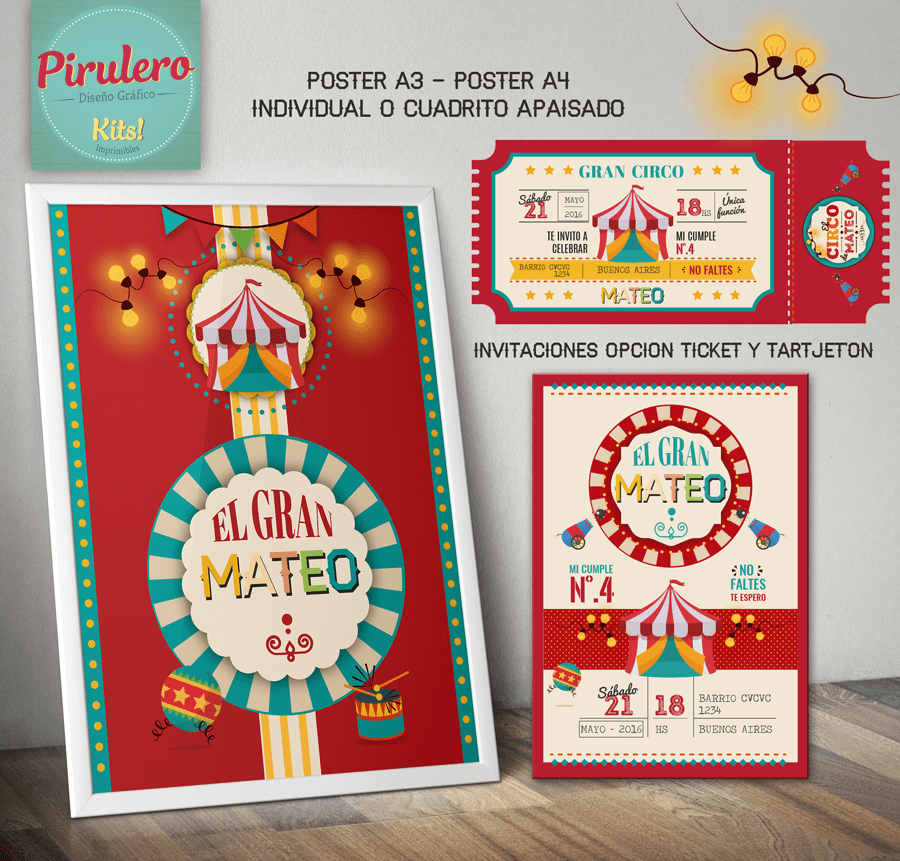 Kit Imprimible Circo Kermesse Comprar En Pirulero