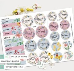 Día de la madre Tags y Stickers Flores del bosque: Kit Imprimible - Pirulero