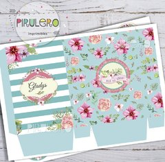 Kit imprimible Shabby chic Acqua rayas y flores