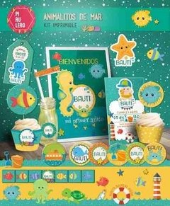 Kit Imprimible Animalitos De Mar - Kit De Verano Playero - comprar online