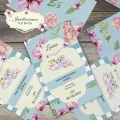 Kit imprimible Shabby chic Acqua rayas y flores en internet