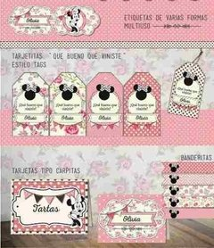 Kit Imprimible Minnie Shabby Chic Rosa - comprar online