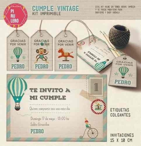Kit Imprimible Vintage Globo Aerostatico Kermesse Circo