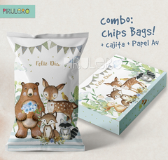 Combo Chip Bag + cajita + papel A4 Bosque encantado 2