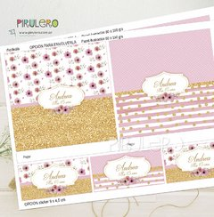 Kit imprimible Shabby Chic Rosa, Blanco y Dorado