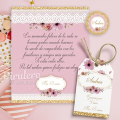 Kit imprimible Shabby Chic Rosa, Blanco y Dorado en internet
