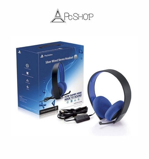 Silver Wired Stereo Headset PS4, PS3 & PS Vita