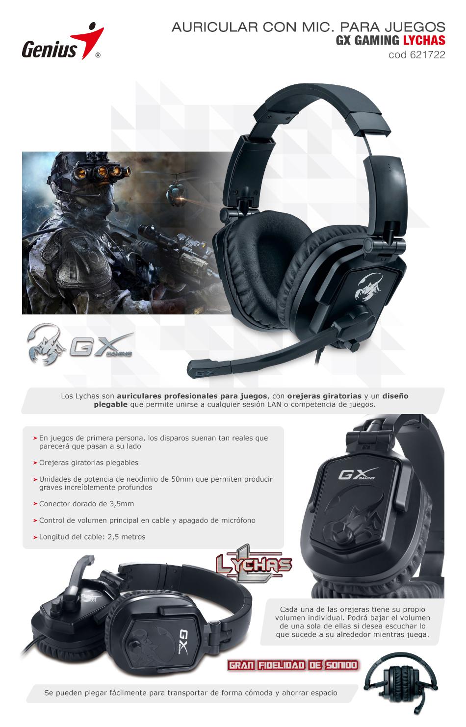 d35a81e67d9 Genius Gx Lychas Auricular con Microfono Gaming | Pc Shop