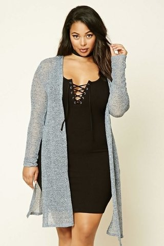 Cardigan a media pierna Plus Size - FOREVER 21 -