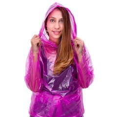 impermeable rosado mujer