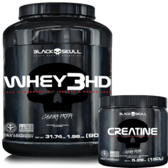 WHEY PROTEIN 3HD 900G + CREATINA 150G - BLACK SKULL