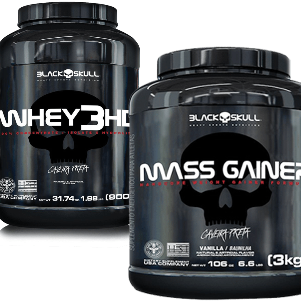 6d3d4d695 GAINER MASS 3KG + WHEY 3HD 900G - BLACK SKULL