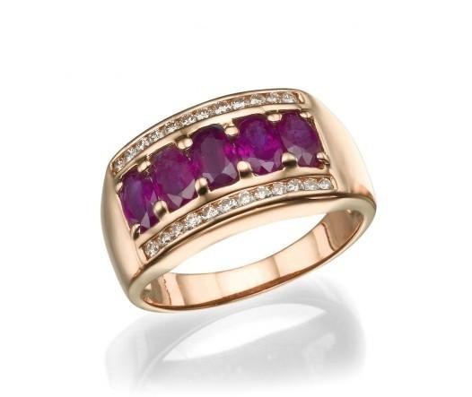 a00cf30e9045f Meia aliança em ouro 18k com rubi e diamantes