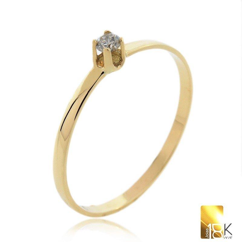 c98117c550d Anel Solitário em Ouro Amarelo 18K com Diamante Central 10 pontos Código   18KAOADS0004b