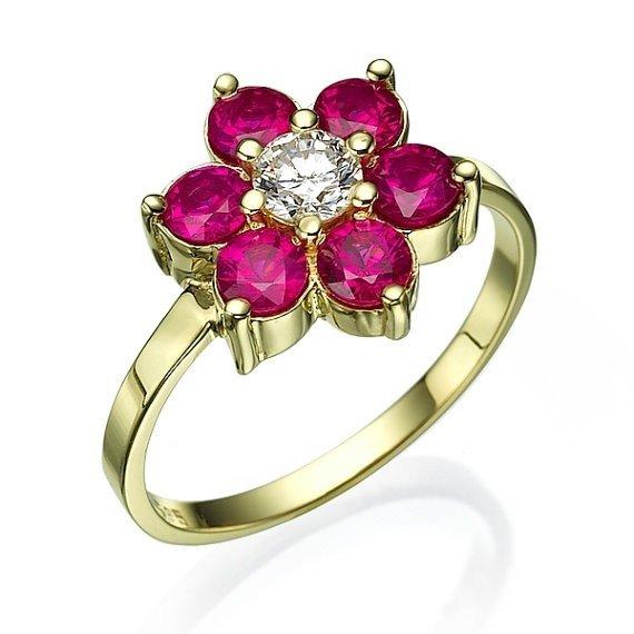 5acf9bb08d7 Anel Flor em Ouro 18k com Rubis e Diamante Código  18Knovas171
