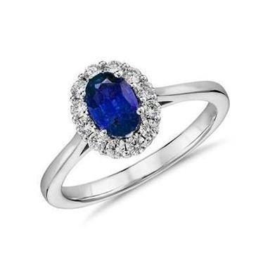 4c77bd9209f27 Conjunto Em Ouro Branco (anel + brincos) 18k Com Safiras E Diamantes -  Código  18K52114