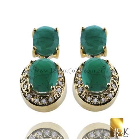 84bd56f5a3d34 Par de Brinco em Ouro Amarelo 18k Com Diamantes e Esmeralda Código   18KBOADP0012