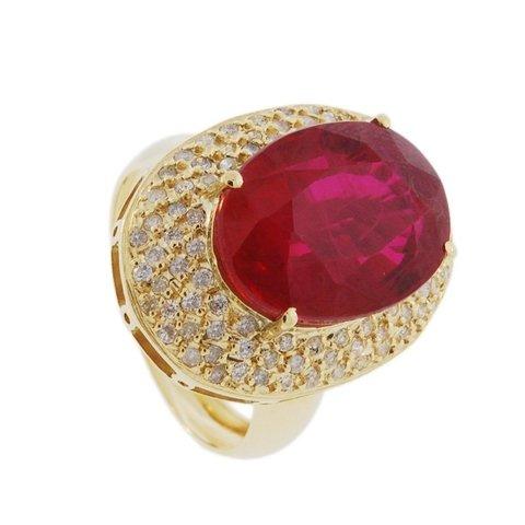 25bc0fb7e1a Anel em Ouro Amarelo 18k com Rubi e Diamantes Código  18Krubi99