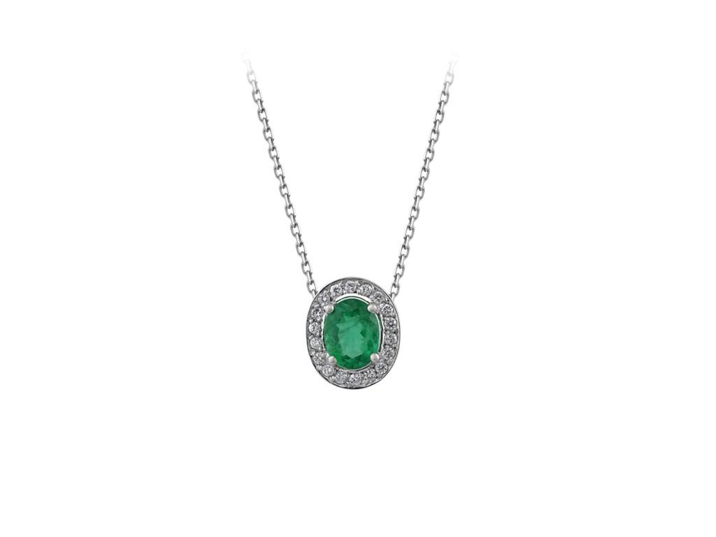 62e9076a9c041 Corrente e Pingente em ouro Branco 18K, esmeralda (1,0cts) e diamantes  (0,18cts). Código  18Kesmeralda40