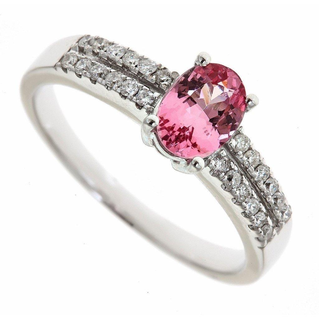 d511628896a68 Anel em Ouro Branco 18K, Turmalina Rosa e Diamantes (0,24cts). Código   18Knovas17