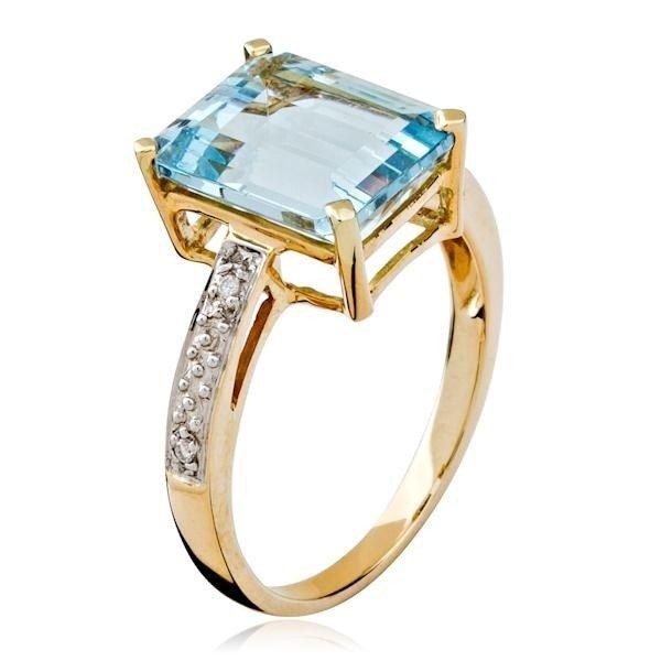 270f15d991bc9 Anel em Ouro 18k, topazio azul e Diamantes. Código  18Kpedrasbrasileiras25