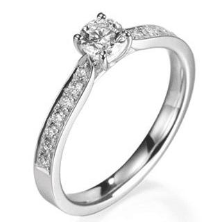 b86fd10c40f9d Anel Solitário, em Ouro branco 18K com Diamantes (0,29cts). Código   18Ksolitario27