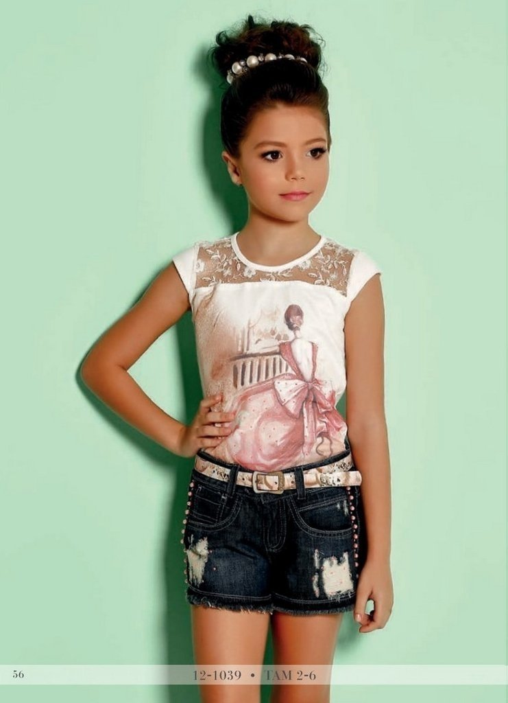 b3060d8d21 Blusa e shorts Jeans Infantil Diforini Moda infanto Juvenil 121039