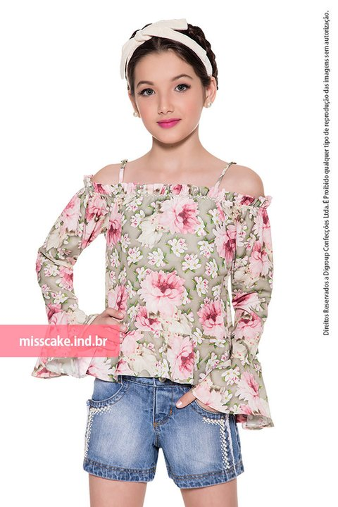Shorts and children's top Shirt - Girl  Miss Cake Moda Infanto Juvenil 530542