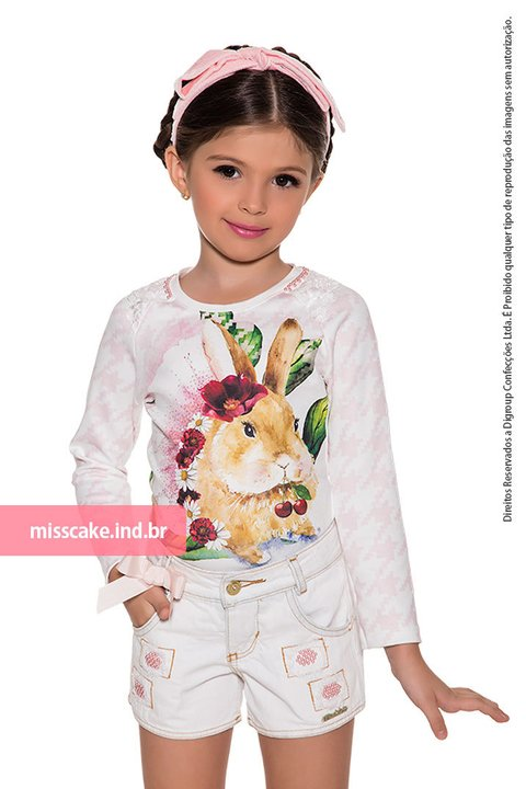 Shorts and children's top Shirt - Girl  Miss Cake Moda Infanto Juvenil 530556