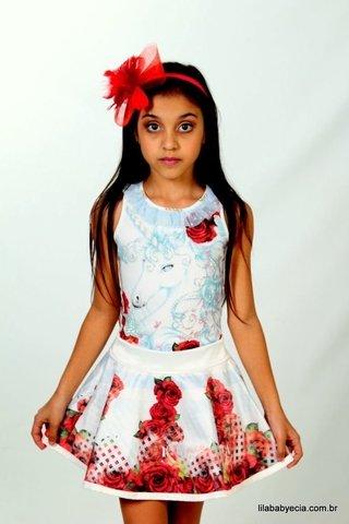Saia e Blusa Infanto Juvenil Miss Cake D...