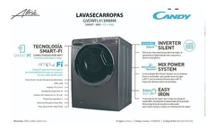CANDY LAVASECARROPA GVFWFL4139WHR-12 FRONTAL 13KG GRIS - comprar online
