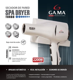 Secador De Pelo Base Pared Gama Spa Dryer Turbo 2200w - comprar online