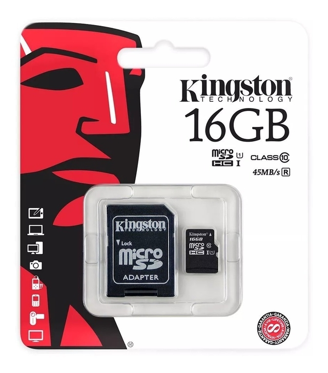 MEMORIA MICRO SD KINGSTON  16GB CLASE 10 + ADAPTADOR
