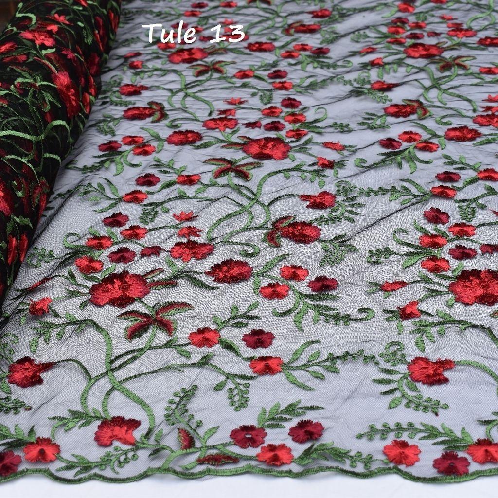 27ad03e80a9d Tule Bordado com Flores Diversas Cores
