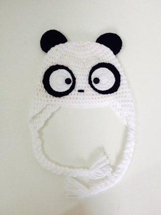 Touca de crochê panda - Comprar em ponto e art e74d2ac0d4d