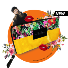 Flowers + Yellow Faux Fur Wallet