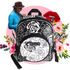 Black and White Roses Mini Backpack