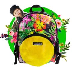 Flowers + Yellow Faux Fur Backpack