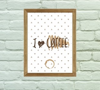 Quadro Decorativo I Love Coffee na internet