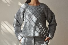 QUILTED GINGHAM SWEATSHIRT