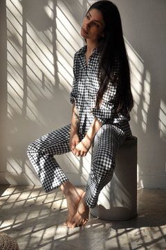 COTTON GINGHAM PANTS - Julieta Grana