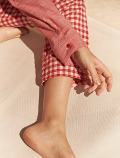 COTTON GINGHAM PANTS - online store